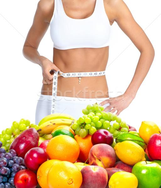 Stockfoto: Dieet · vrouw · meetlint · geïsoleerd · witte · meisje