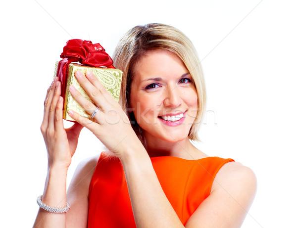 Happy woman with christmas gift. Stock photo © Kurhan