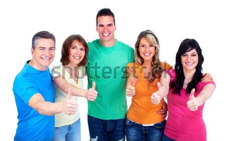 Grupo pessoas felizes isolado branco homem feliz Foto stock © Kurhan