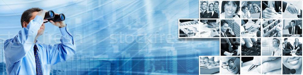 Işadamı iş mavi kadın adam ağ Stok fotoğraf © Kurhan