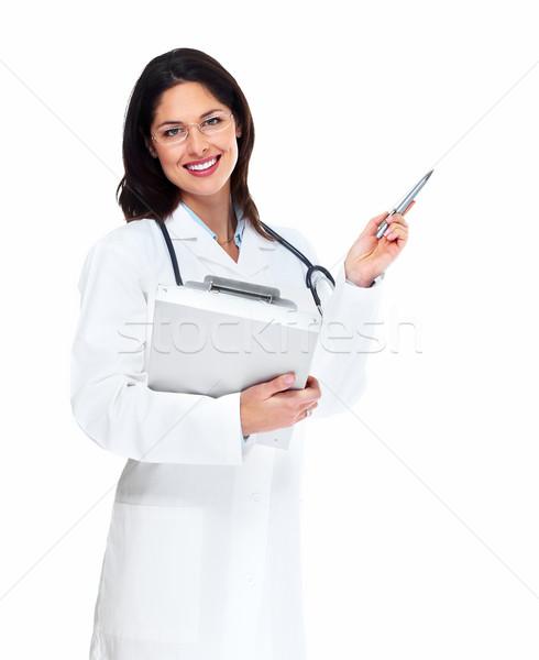 Сток-фото: улыбаясь · медицинской · врач · женщину · стетоскоп · изолированный