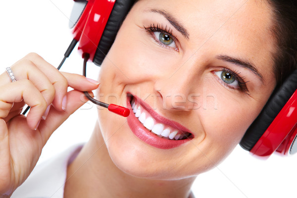 Beautiful  business woman with headset. Stock photo © Kurhan