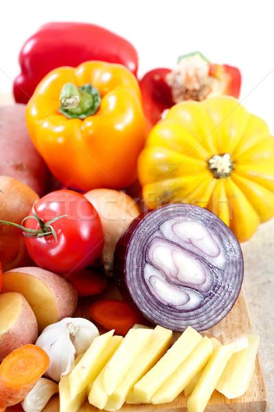 キッチン 料理 ジャガイモ ナイフ まな板 表 ストックフォト © Kurhan