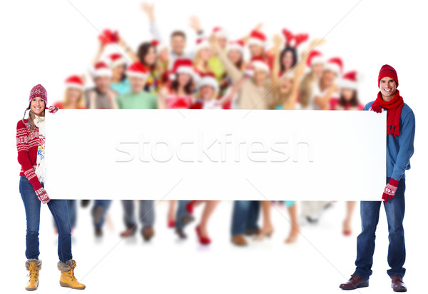 Happy people group with placard. Stock photo © Kurhan