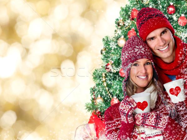 Heureux couple potable chaud thé Noël Photo stock © Kurhan