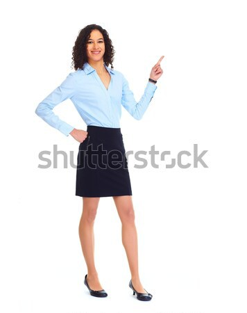 Stock photo: Young business woman presenting copy space.