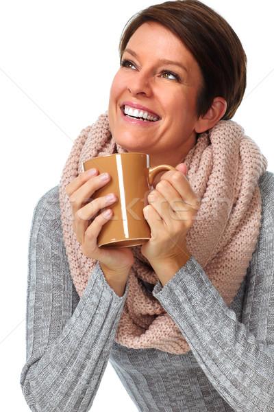 Gyönyörű hölgy sál kávésbögre izolált fehér Stock fotó © Kurhan
