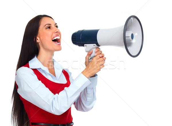 若い女性 ラウドスピーカー 小さな ビジネス女性 広告 ビジネス ストックフォト © Kurhan