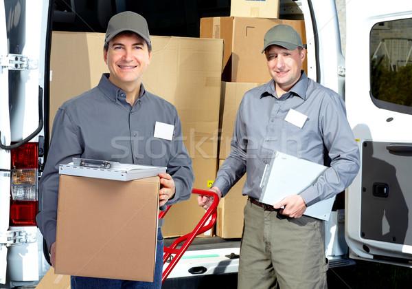 Mensajero envío camión sonriendo cartero cuadro Foto stock © Kurhan