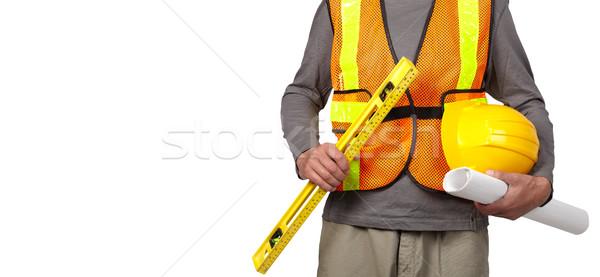 Lavoratore casco arancione sicurezza gilet Foto d'archivio © Kurhan