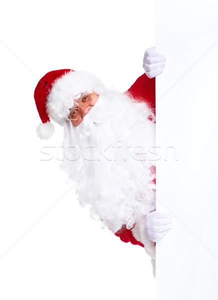 Stockfoto: Kerstman · banner · gelukkig · christmas · geïsoleerd · witte