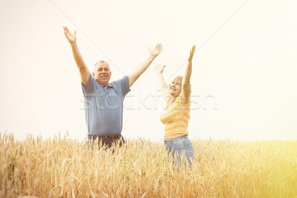 Idős emberek mező kettő kopott mosolyog emberek Stock fotó © Kurhan