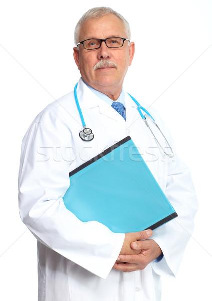 Orvos orvos portré izolált fehér férfi Stock fotó © Kurhan