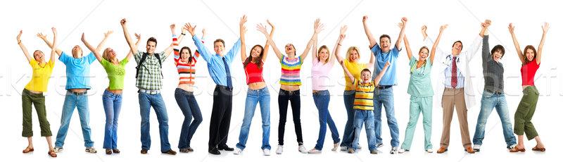 Boldog vicces emberek izolált fehér család Stock fotó © Kurhan