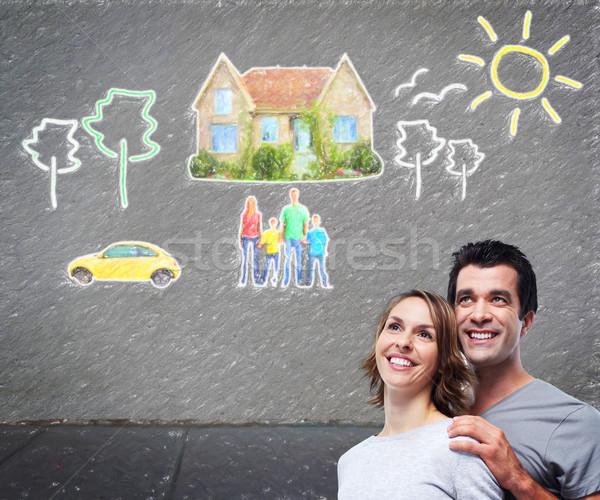 Stockfoto: Paar · denken · nieuw · huis · auto · hypotheek · huis