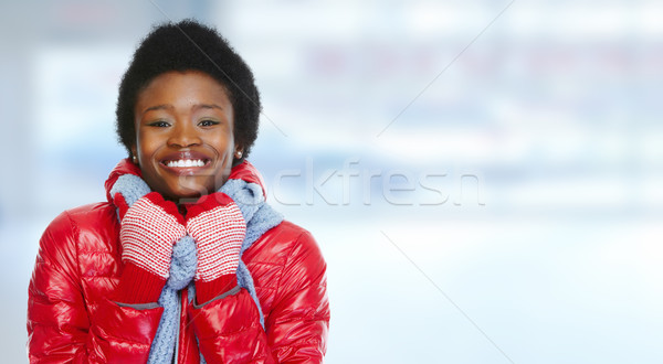 African -american woman in winter clothing. Stock photo © Kurhan