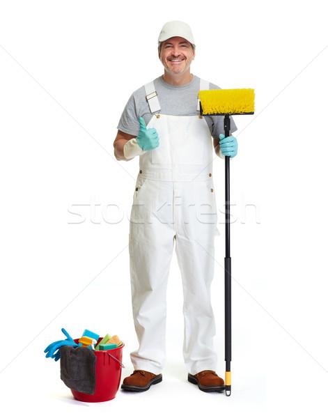 Cleaner uomo ginestra secchio isolato bianco Foto d'archivio © Kurhan