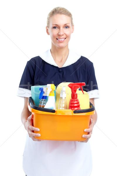 Stok fotoğraf: Hizmetçi · gülümseyen · kadın · yalıtılmış · beyaz · arka · plan