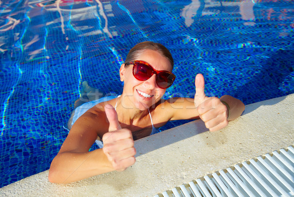 Foto stock: Mulher · piscina · férias · caribbean · recorrer · cara