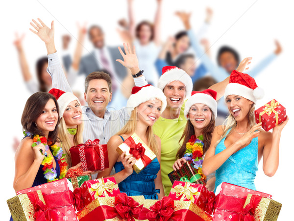 Christmas people crowd with gifts. Stock photo © Kurhan