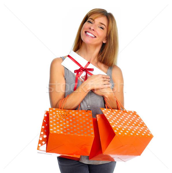 Shopping donna busta regali isolato bianco Foto d'archivio © Kurhan