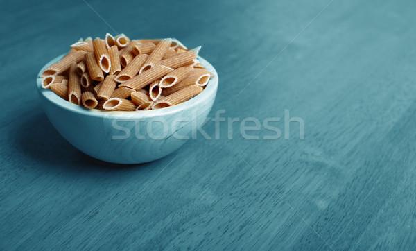 Organikus teljeskiőrlésű búza étel háttér asztal kék Stock fotó © Kurhan