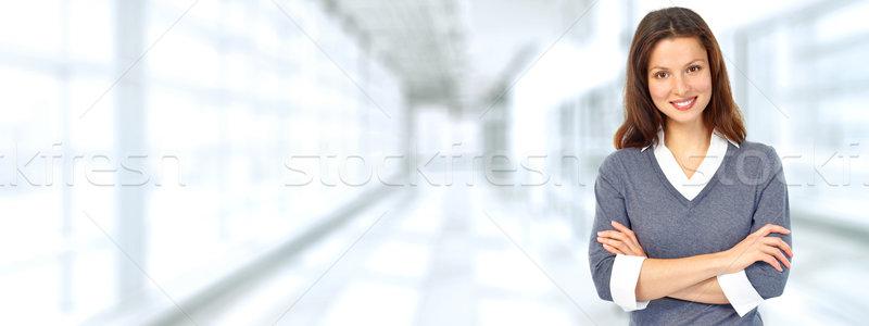Hermosa mujer de negocios jóvenes azul oficina negocios Foto stock © Kurhan