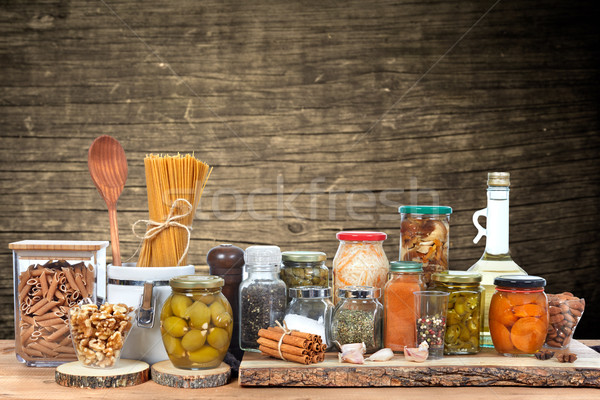 Augurken jar groenten glas voedsel tabel Stockfoto © Kurhan