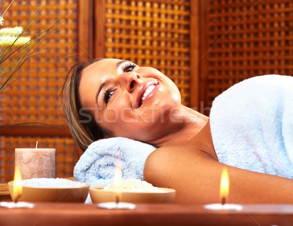 Foto stock: Mulher · jovem · estância · termal · massagem · salão · relaxar · mão