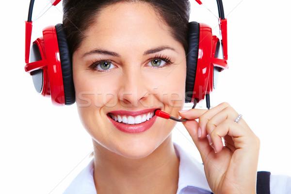 Beautiful  business woman with headset. Stock photo © Kurhan
