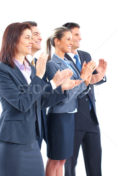 Photo stock: Gens · d'affaires · équipe · souriant · travail · bureau · heureux