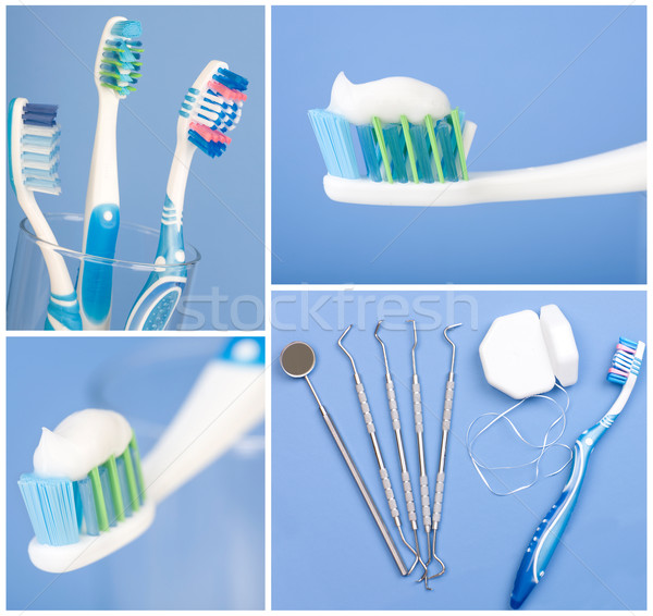 Dental tools, floss, and toothbrush Stock photo © Kurhan