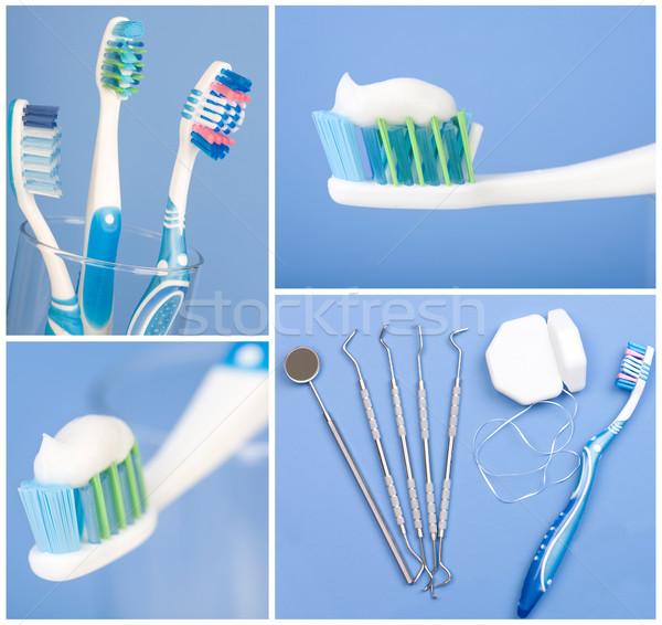 Fogászati szerszámok fogkefe kék egészség háttér Stock fotó © Kurhan