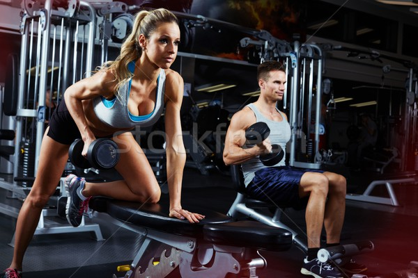 bent over dumbbell workout Stock photo © Kurhan