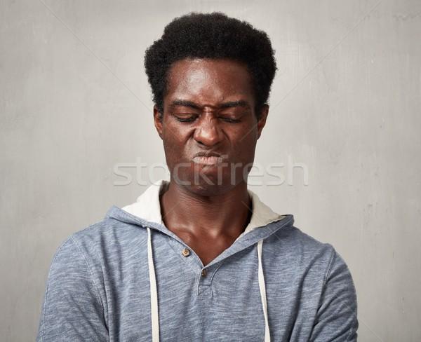 Triest zwarte man melancholicus afro-amerikaanse man grijs Stockfoto © Kurhan