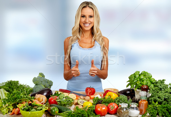 Foto stock: Menina · feliz · feliz · mulher · jovem · comida · menina