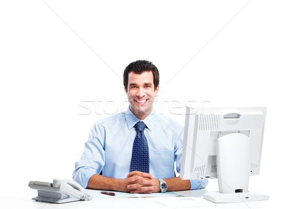 Сток-фото: бизнесмен · улыбаясь · красивый · изолированный · белый · бизнеса