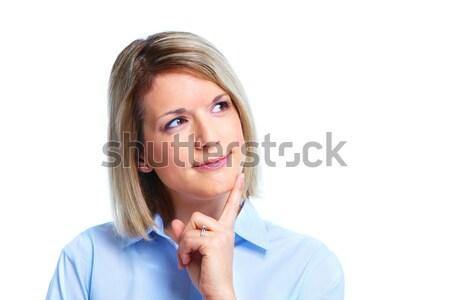 Stockfoto: Zakenvrouw · denken · geïsoleerd · witte · business · gezicht