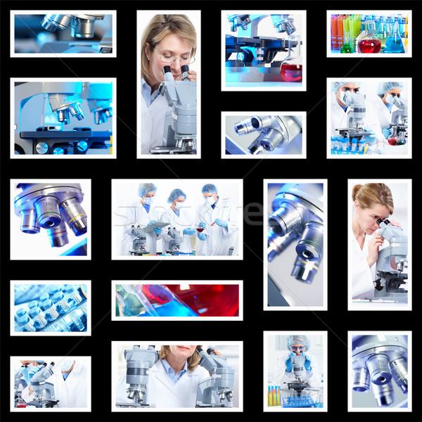Сток-фото: научный · коллаж · медицинской · исследований · врач · работу