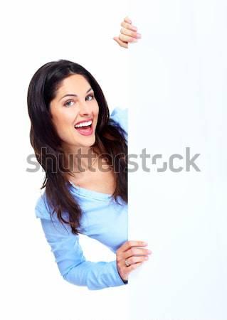 Сток-фото: деловой · женщины · молодые · баннер · изолированный · белый