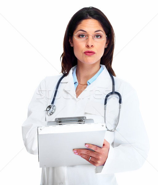 Stockfoto: Arts · vrouw · medische · geïsoleerd · witte · business
