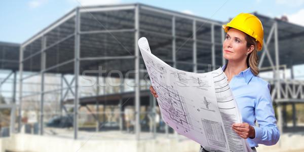 Nő építész profi építőipar város építkezés Stock fotó © Kurhan