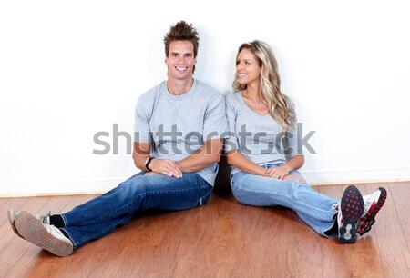 Szeretet pár fiatal mosolyog új lakás Stock fotó © Kurhan