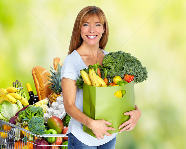 Kadın bakkal çanta sebze yeşil Stok fotoğraf © Kurhan