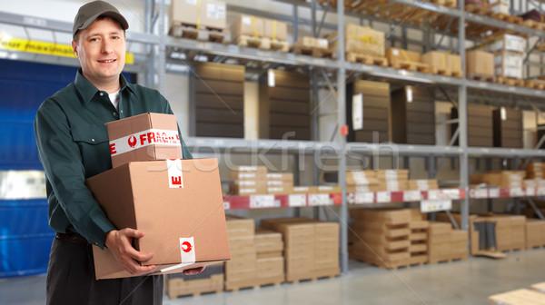 Livraison postman boîte stock homme camion Photo stock © Kurhan