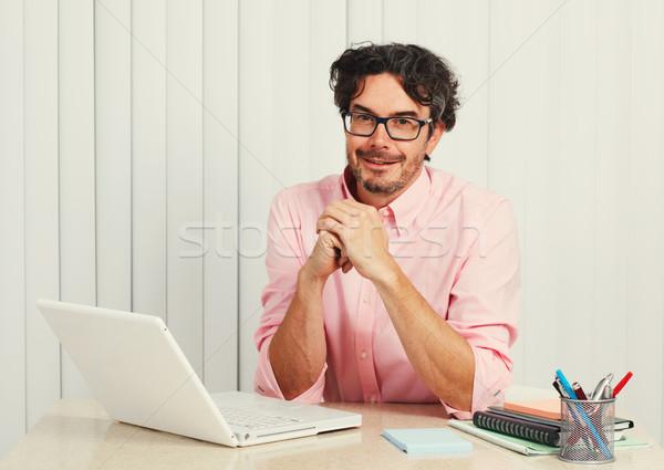 Homem trabalhando laptop jovem bonito estudante Foto stock © Kurhan