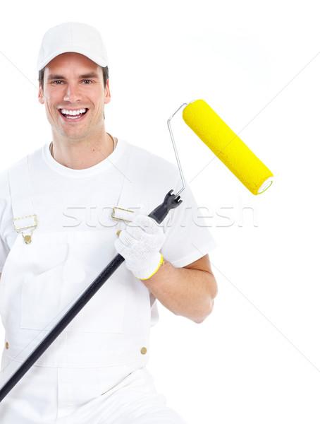 Pintor jovem homem branco terno isolado Foto stock © Kurhan