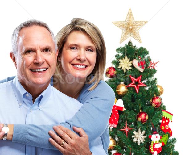 Stock foto: Weihnachten · Paar · glücklich · Senior · lächelnd · Liebe