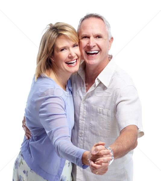 Foto stock: Casal · de · idosos · amor · feliz · isolado · branco · mulher