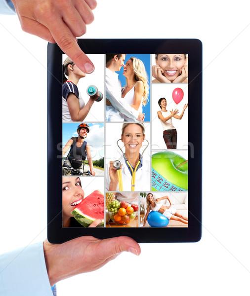 Stock fotó: Táblagép · egészség · emberek · életstílus · kezek · izolált